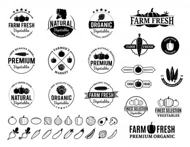 Vegetables Logos, Labels, Vegetables Icons and Design Elements