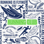 Fotografia Running club seamless pattern o sfondo vettoriale