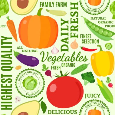 Typographic vector vegetables seamless pattern or background
