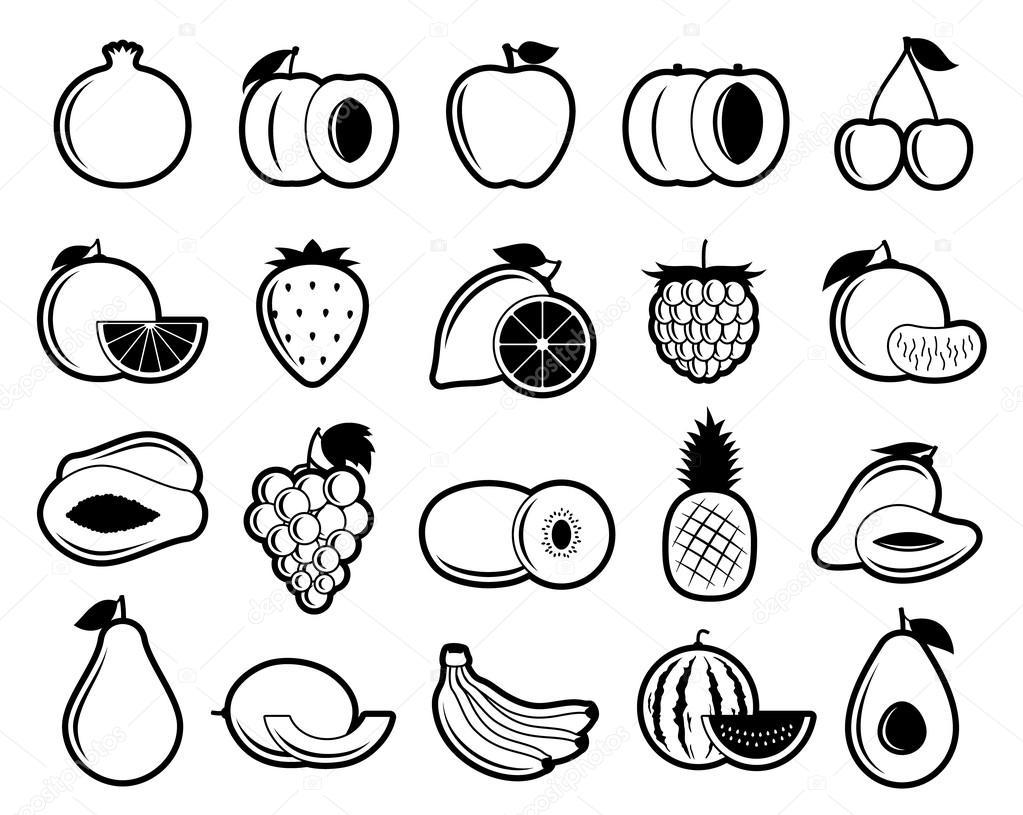 Iconos De Frutas Vector Blanco Y Negro