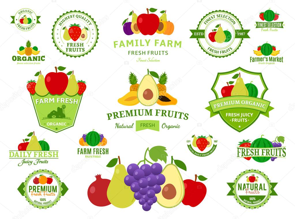 Fruits Logos, Labels, Fruits Icons and Design Elements