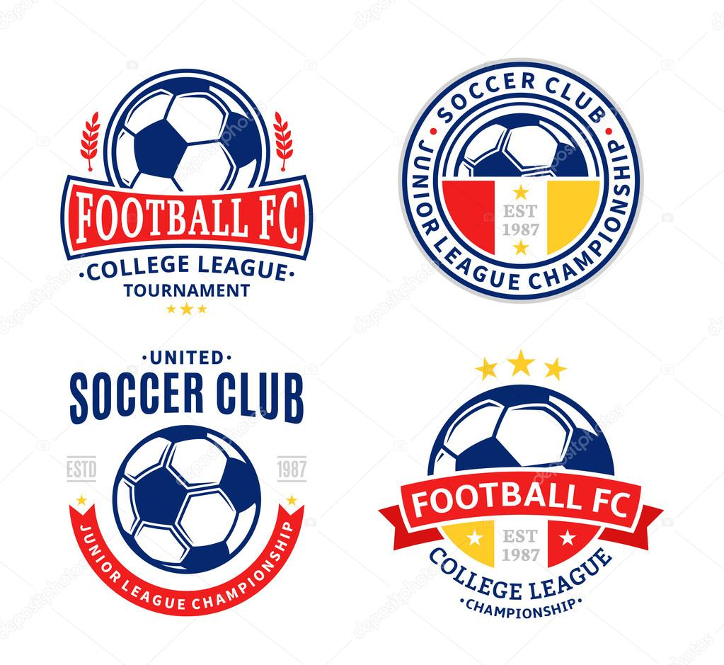 Set of soccer football club logo stock vector counterfeit 88556562 soccer football labels with sample text soccer football icons for sport tournaments and organizations sport team identity vector by counterfeit biocorpaavc Choice Image