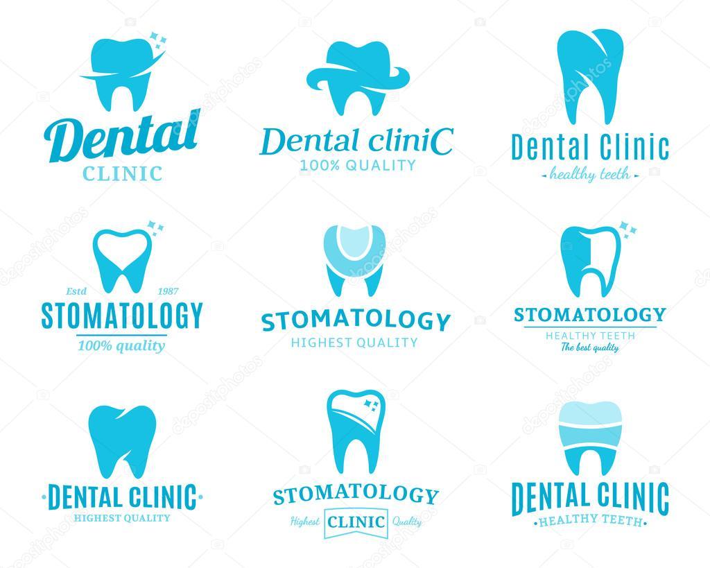 Clínica dental logotipo, iconos y elementos de diseño — Archivo ...