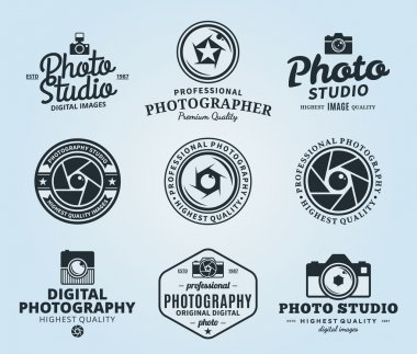 Vector photography logo templates. Photo studio logo. Photographer logo. Camera shutter, photo camera and lens badges, icons and design elements. Photo label design. stock vector