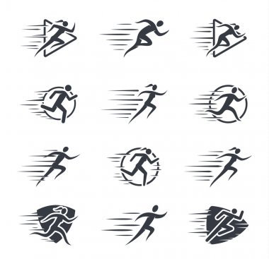 Running Man and Woman Icons with Motion Trails
