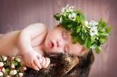 Spící dítě s věncem na hlavě v hnízdě