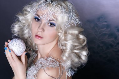 Winter beauty young woman portrait,model creative image with frozen makeup, with porcelain skin and long white lashes showing trendy