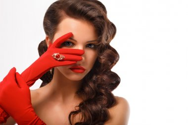 Isolated Girl Portrait. Vintage Style Mysterious Woman Wearing Red Glamour Gloves