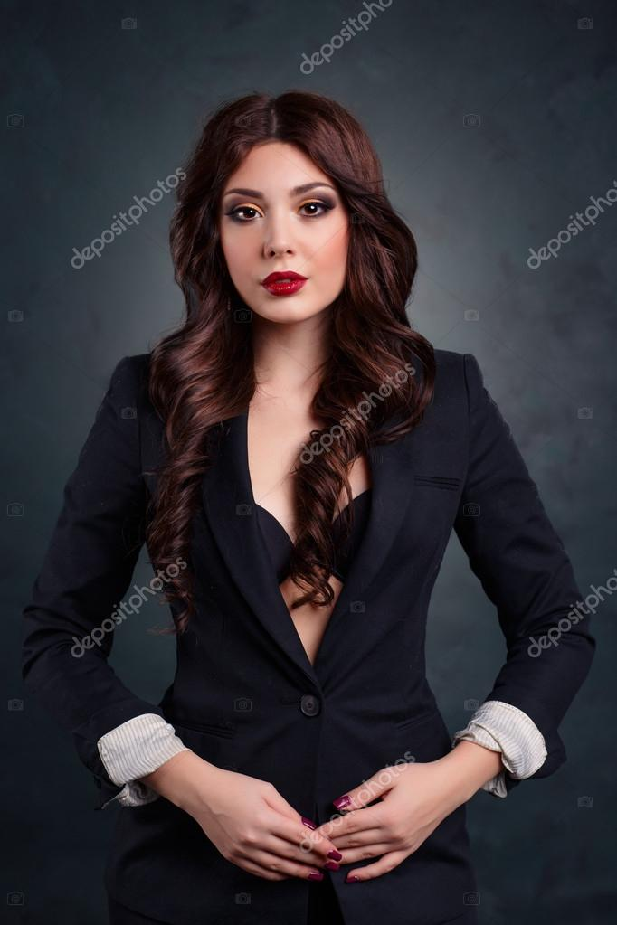 Sexy Business Woman In A Dark Business Suit Beautiful Sexy