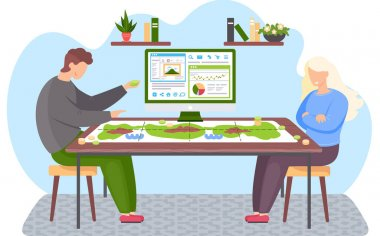 Happy family or friends man and woman sitting at a table and playing strategy board game at home