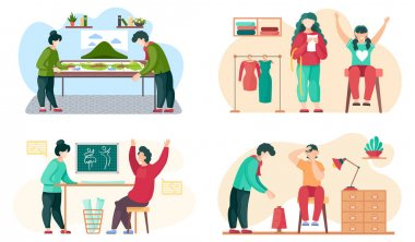 Seamstress sews clothes to order for customers. Sewing workshop scenes set. Clothing marking. The girl works in the atelier for making fashion clothes. Family playing board game together at home icon