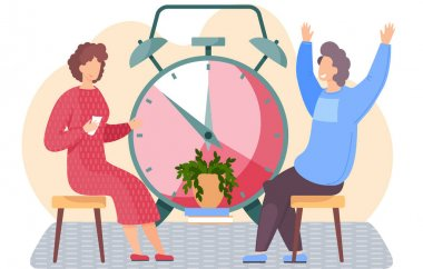 Girl in red dress sitting with cards in her hands. Woman thinks over the next move. Office work management. Man happily raising his hands up. Big alarm clock on background. People spend time together icon