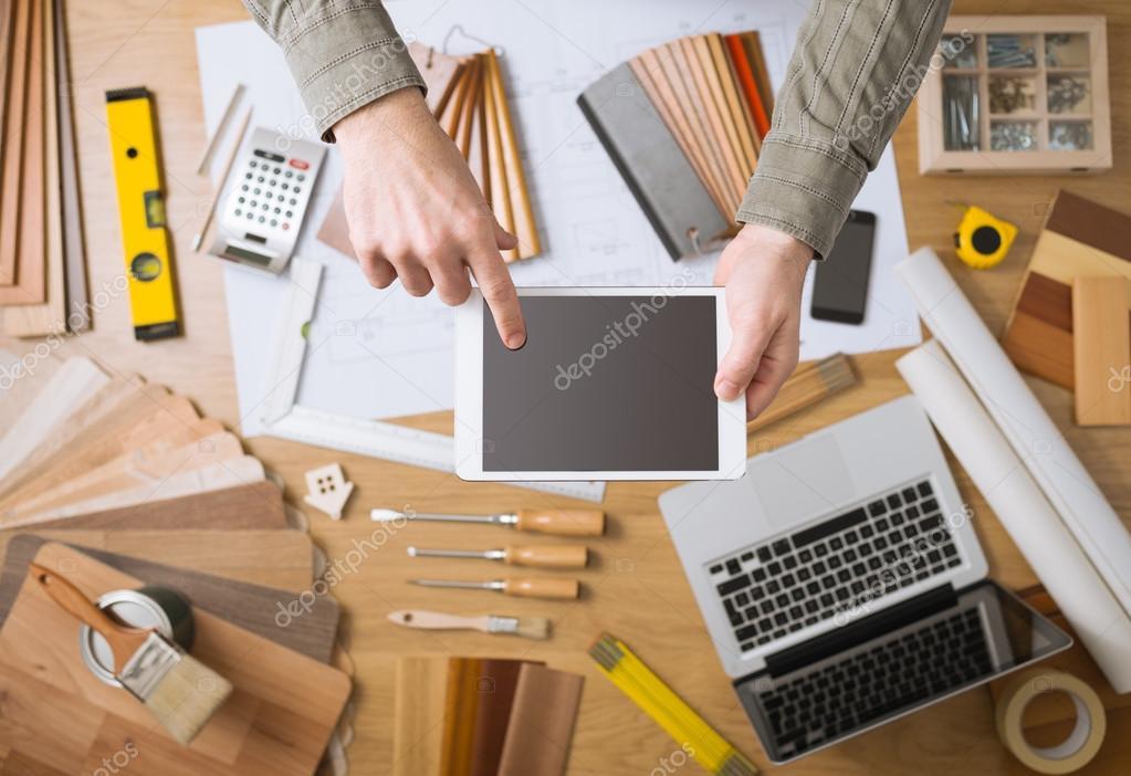 Interior designer app with work table \u2014 Stock Photo & Interior designer app with work table \u2014 Stock Photo © stockasso ...