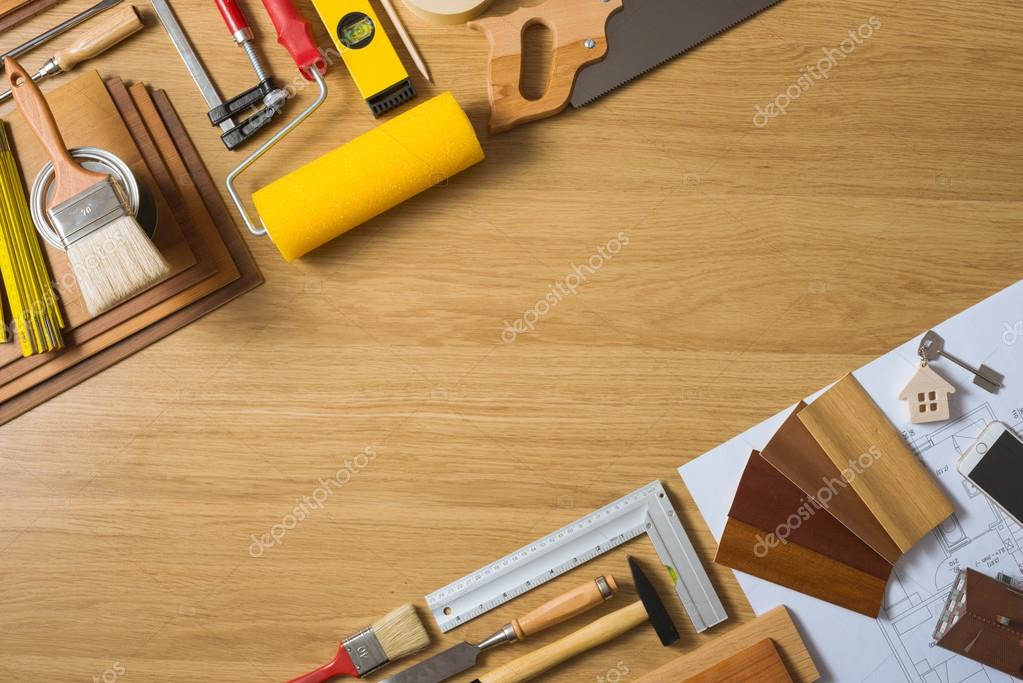 Do it yourself home remodeling stock photo stockasso 124523470 do it yourself home remodeling and renovation concept work table top view with tools house keys and wood swatches photo by stockasso solutioingenieria Image collections