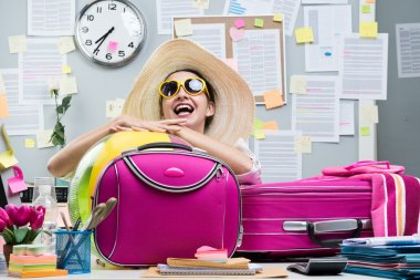 Cheerful office worker with pink luggage and sunglasses ready for vacations. stock vector