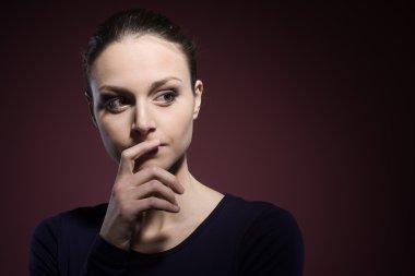 Pensive woman portrait