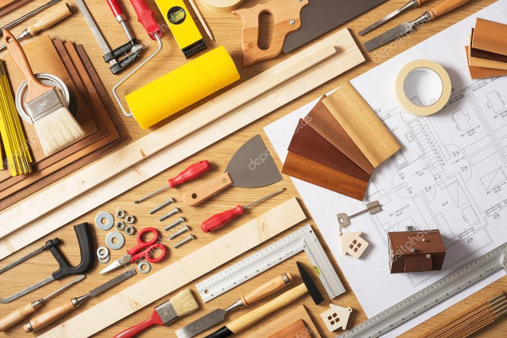 Do it yourself home improvement stock photo stockasso 70861115 do it yourself home improvement and renovation concept work table top view with work tools and draft project top view photo by stockasso solutioingenieria Images