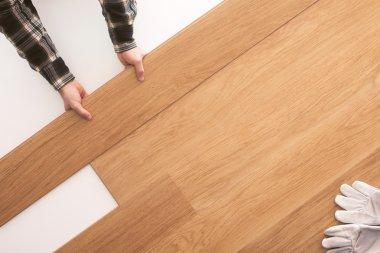 Wooden flooring installation at home
