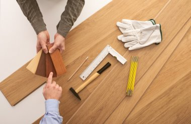 Customer choosing a wooden baseboard