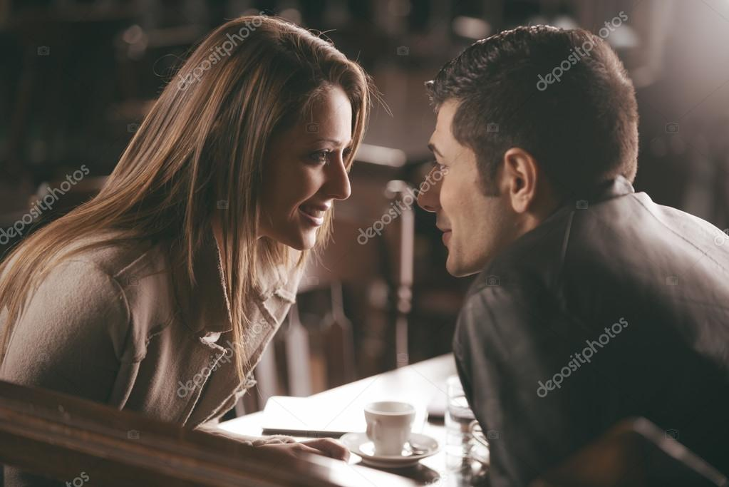Romantic couple at the bar