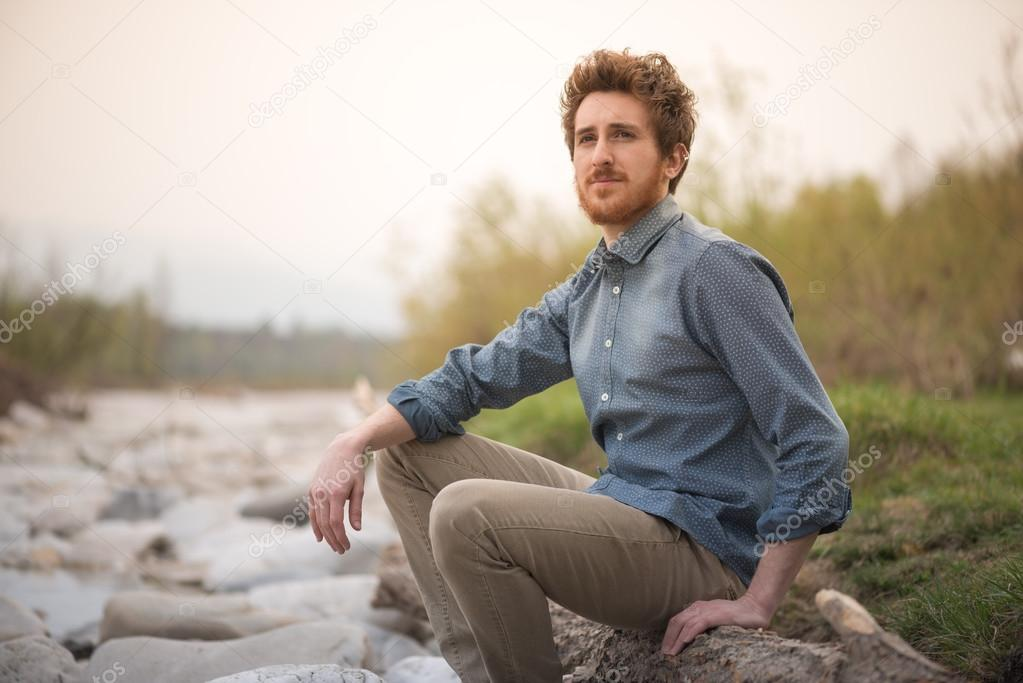 Man relaxing in nature