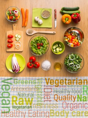 Healthy vegetarian eating concepts