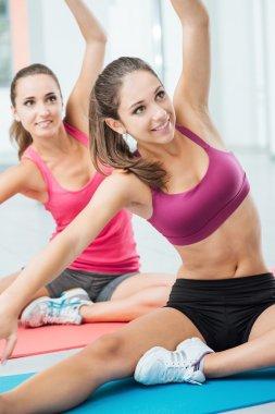 Girls at workout class