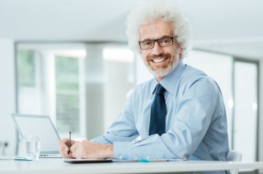 Successful businessman working at office desk