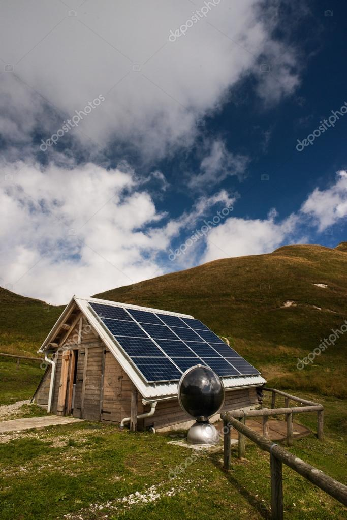 Solar panels on a mountain hut