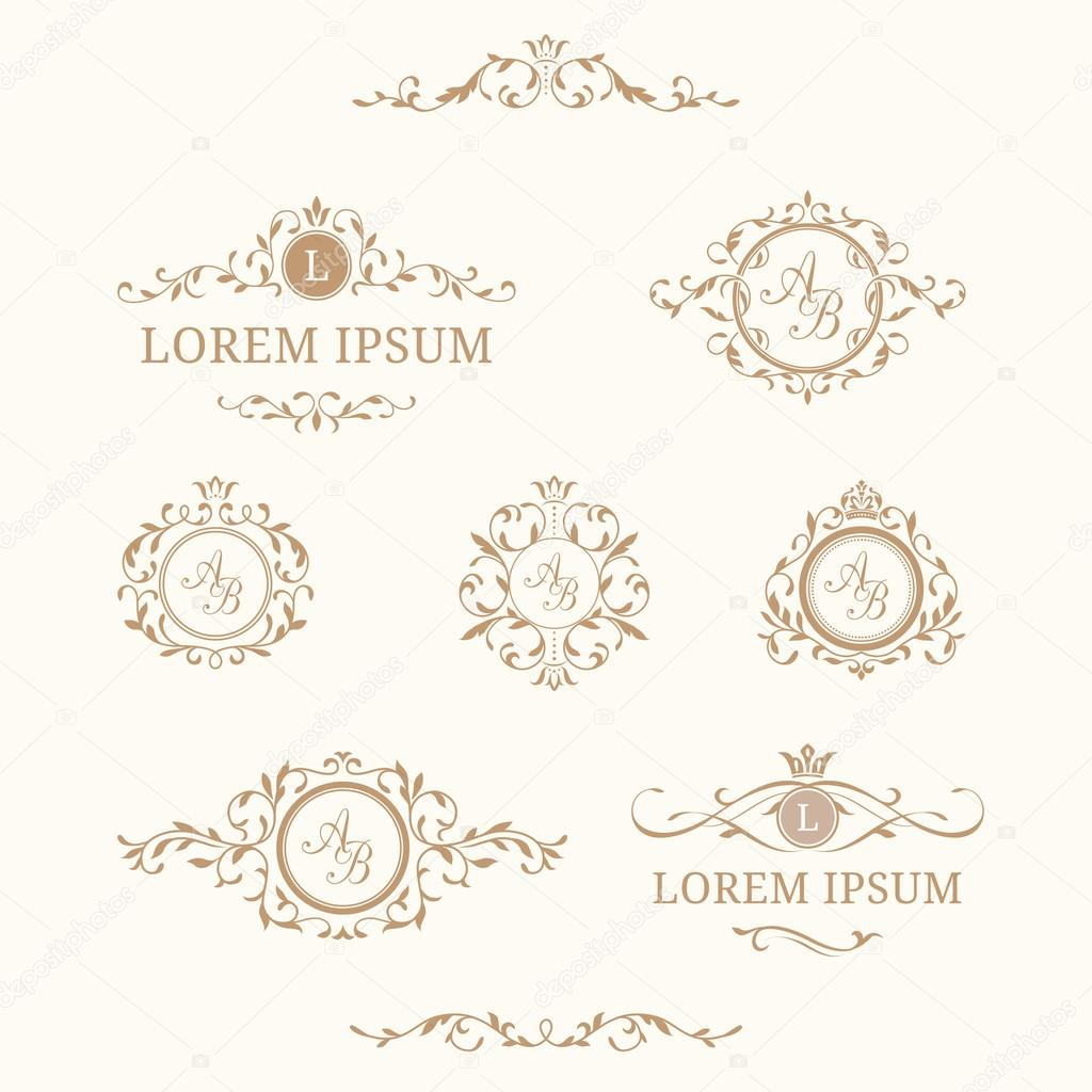 Set Of Elegant Floral Monograms And Borders Stock Vector