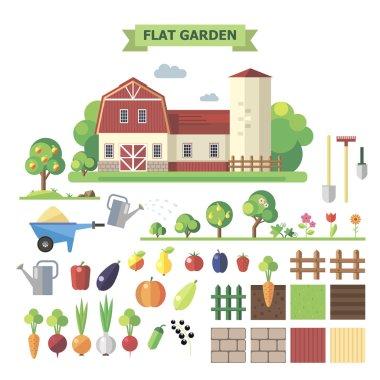 Flat  garden with farmhouse