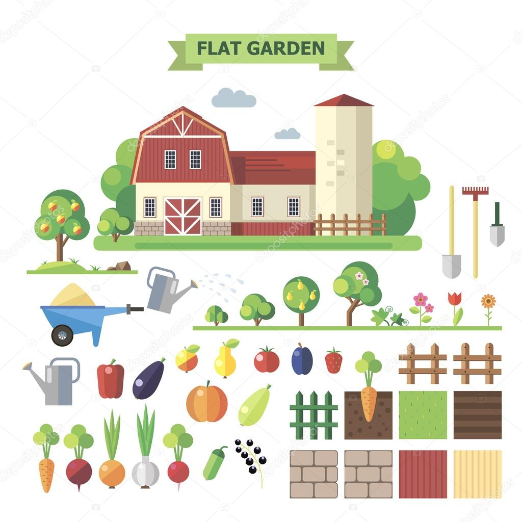 Flat  garden with farmhouse