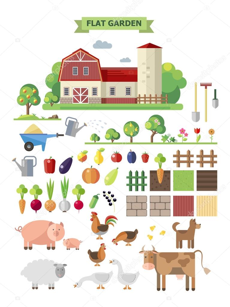 Flat  farm with farmhouse