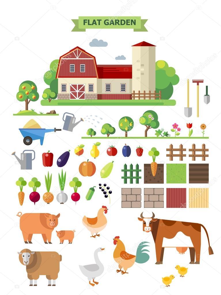 Flat  farm with farmhouse