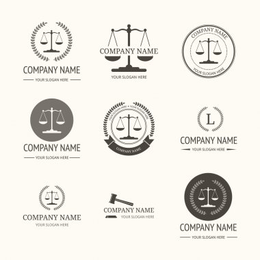 Law firm logo template. set of vintage labels.