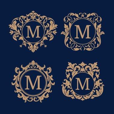 Set of elegant floral monograms