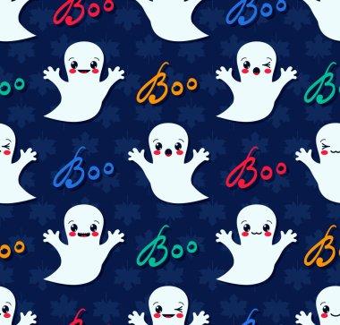 Halloween seamless pattern with cute kawaii ghosts