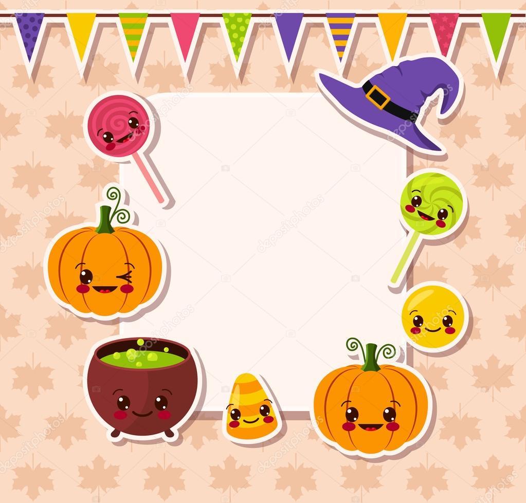 Kawaii Halloween symbols with frame — Stock Vector © YadvigaGr ...