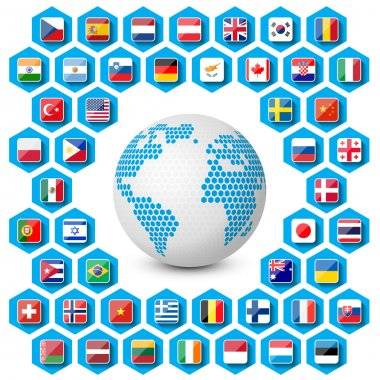 Flags icons with globe