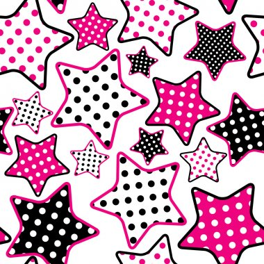 Pattern with pink and black stars