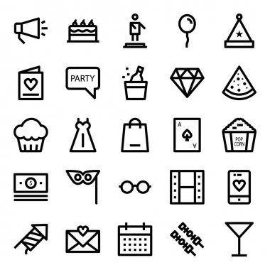 Outline icons for celebration & party. icon