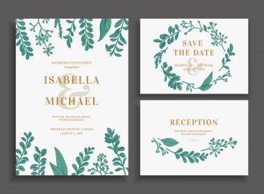 Vintage wedding set with greenery. Wedding invitation, save the date, reception card. Vector illustration. Boxwood, seeded eucalyptus. Wreath with leaves and twigs. Engraving style. Design elements. stock vector