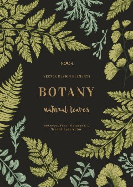Botanical card for with leaves