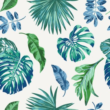 Seamless exotic pattern with tropical leaves . Vector illustration. stock vector