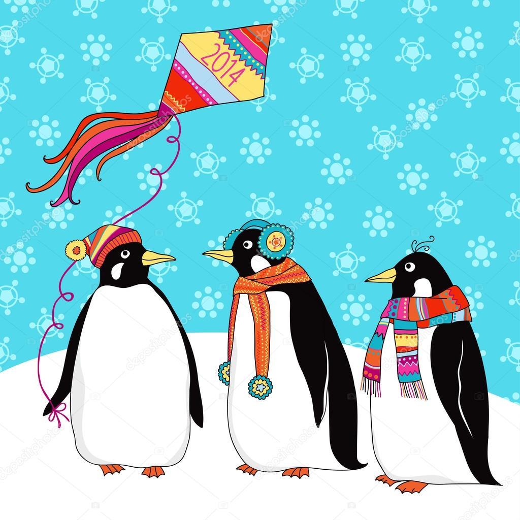 открытка маме на новый год пингвин