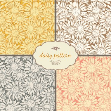 Seamless  daisies patterns.