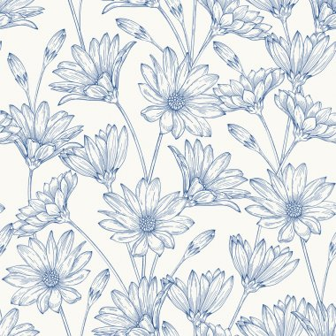 Pattern with blue daisies