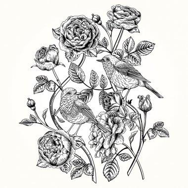 """Картина, постер, плакат, фотообои """"карта с розами и птицами ."""", артикул 56814075"""