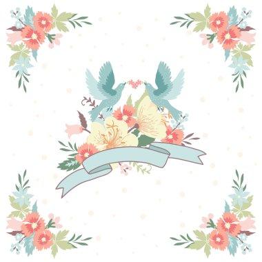 Flowers and birds  invitation