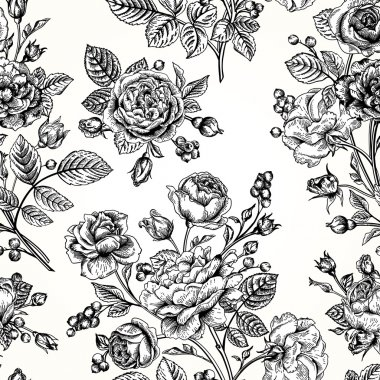 Pattern with roses.